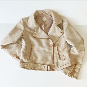 Rose Gold Moto Jacket. Faux suede. LC Runway